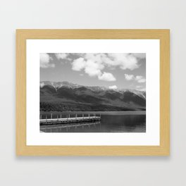 Westport, New Zealand Black & White Framed Art Print