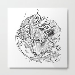 Wolf pup and nouveau poppies Metal Print