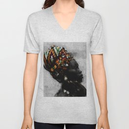 African American Masterpiece Portrait of a Woman Unisex V-Neck