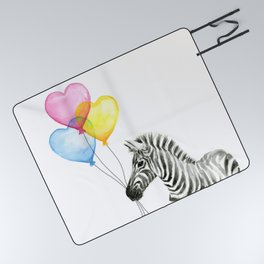 Zebra Watercolor With Heart Shaped Balloons Picnic Blanket