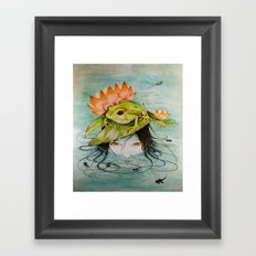 The Girl Who Kisses Frogs Framed Art Print