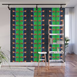 number 244 lime green yellow navy blue black pattern Wall Mural