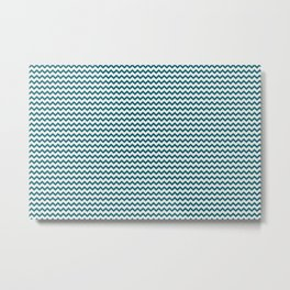 Simple Chevron Zigzag Horizontal Line Pattern in Off White and Tropical Dark Teal Inspired by Sherwin Williams 2020 Trending Color Oceanside SW6496 Metal Print