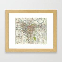 Vintage Map of Kansas City Missouri (1920) Framed Art Print