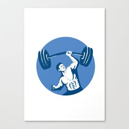 Strongman Lifting Barbell One Hand Stencil Canvas Print