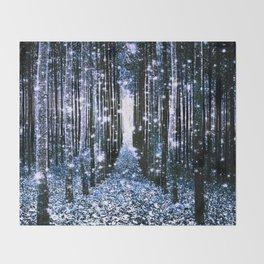 Magical Forest Dark Blue Elegance Throw Blanket
