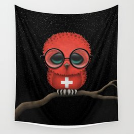 Baby Owl with Glasses and Swiss Flag Wall Tapestry