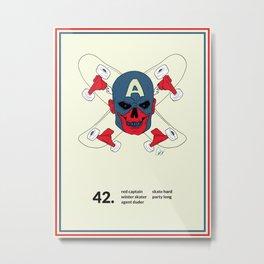 Red Captain Skater Metal Print
