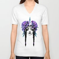 flowers V-neck T-shirts featuring New Way Warrior by Ruben Ireland