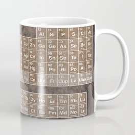 Tableau Periodiques Periodic Table Of The Elements Vintage Chart Sepia Red Tint Coffee Mug