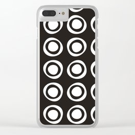 White circles and polka dots on black Clear iPhone Case