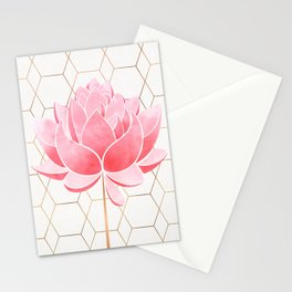 Lotus Blossom - Blush Pink and Metallic Gold Stationery Cards