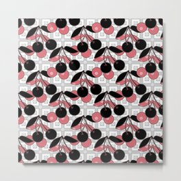 Black and pink pattern . Cherry . Metal Print
