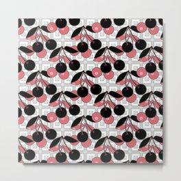 Black and pink pattern . Cherry . Metal Print