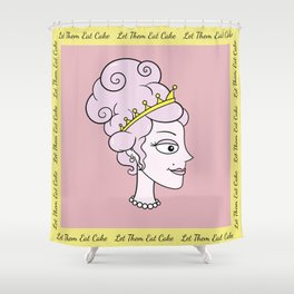 Let Them Eat Cake (pink with yellow border) by Blissikins Shower Curtain