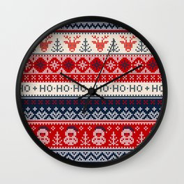 Ugly sweater Merry Christmas Happy New Year vintage nodric illustration knitted pattern folk style scandinavian ornaments. Ho Ho Ho. Raindeer. Heart. Wall Clock