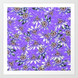 Periwinkle passionflower pattern Art Print