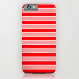 Large Horizontal Christmas Holiday Red Velvet and White Bed Stripe iPhone Case
