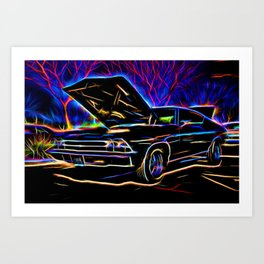 1969 Neon Chevy Chevelle Chevrolet Art Print