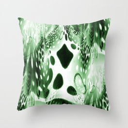 Green Circles, Drops and Drips Throw Pillow