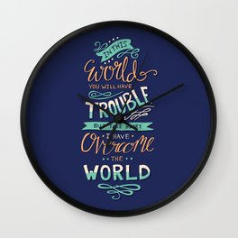 You Will Have Trouble - Bible Verse Typography Wall Clock