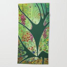 Green Garden Moose Beach Towel
