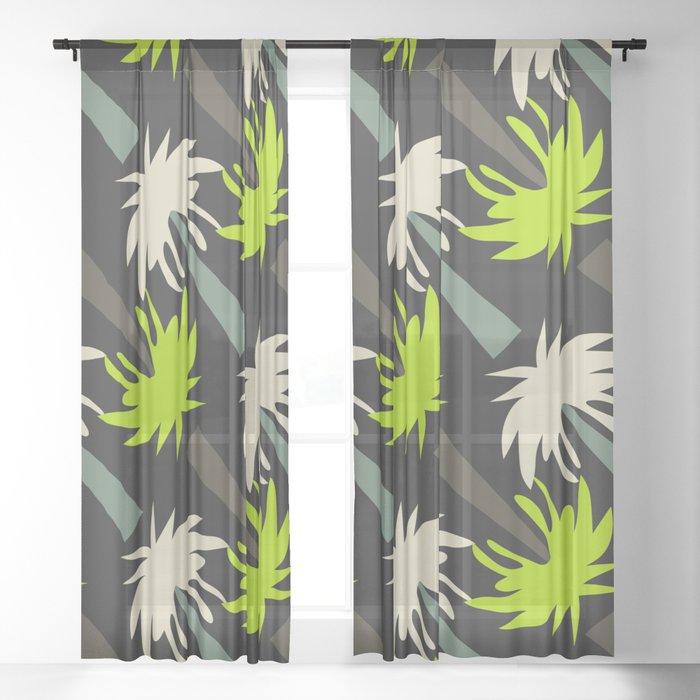 Retro palm tree decor Sheer Curtain