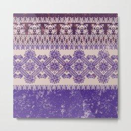 fair isle snow flake in purple Metal Print