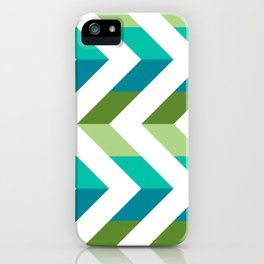 Chevron Picnic Time - Geometric pattern with blue and green iPhone Case