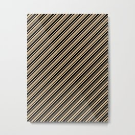 Tan Brown and Black Diagonal RTL Var Size Stripes Metal Print