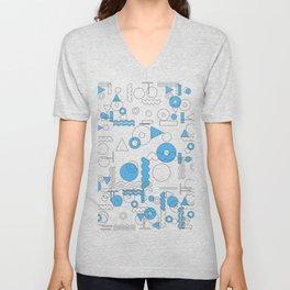 Blue White Geometric Shapes Unisex V-Neck