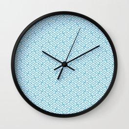 Blue Auspicious Sayagata Japanese Kimono Pattern Wall Clock
