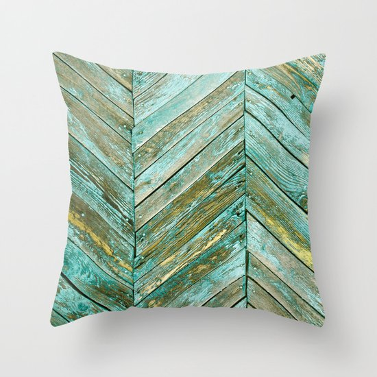 Vintage Blue Wood Throw Pillow by Patterns And Textures Society6
