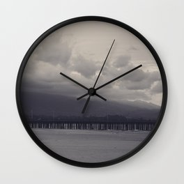 Santa Barbara Pier- In the Storm's Path Wall Clock