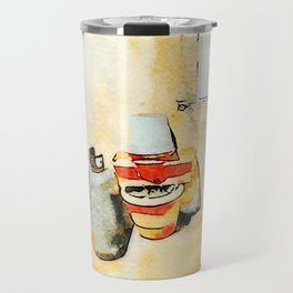 Gas bottle, jar and italian flag in street of Tortora Travel Mug