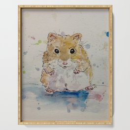 Syrian hamster painting. Serving Tray