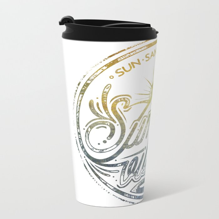 Summer vibes - typo artwork Metal Travel Mug