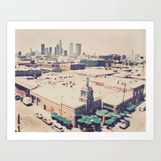 Urth Caffe. Los Angeles skyline photograph Art Print