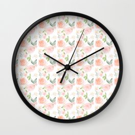 Blush pink orange watercolor hand painted roses floral Wall Clock