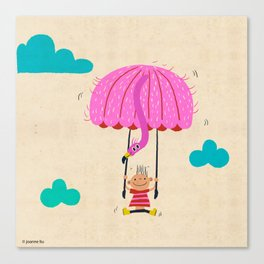 one of the many uses of a flamingo - parachute Canvas Print