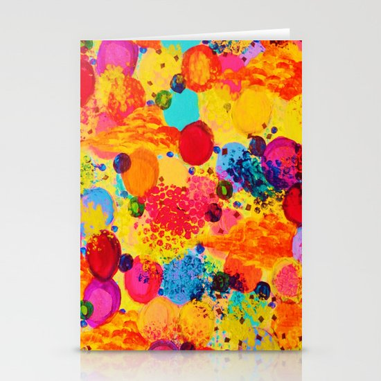 TIME FOR BUBBLY 2 - Fun Fiery Orange Red Whimsical Bubbles Bright Colorful Abstract Acrylic Painting Stationery Cards