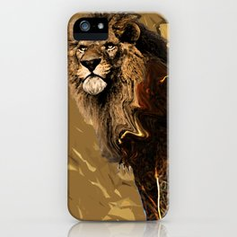 king Lion digital art  brown savana iPhone Case