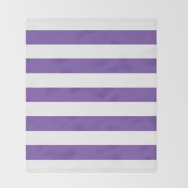 Royal purple - solid color - white stripes pattern Throw Blanket