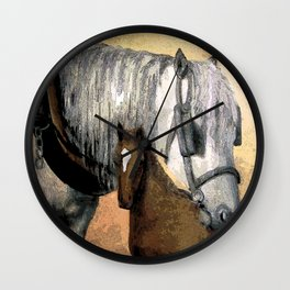 Plow Horse and Foal Wall Clock