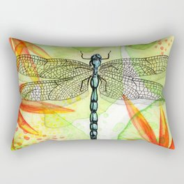 Dragonfly Lilly Art (Watercolor & Ink) Rectangular Pillow