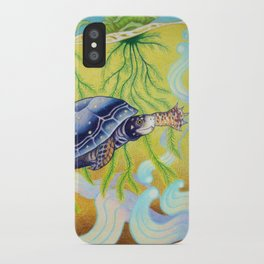 Swimming Spotted Turtle, Turtle Art iPhone Case