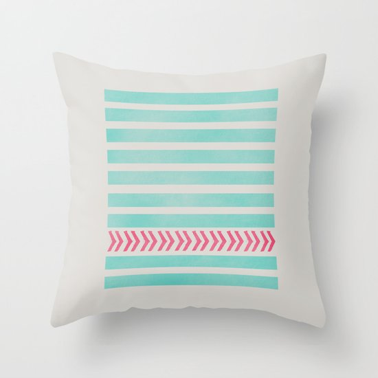 STRIPES AND ARROWS - PINK & BLUE Throw Pillow by Allyson Johnson Society6