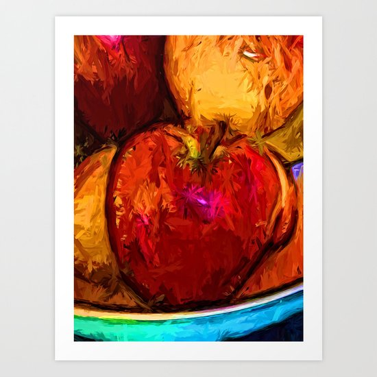 Red Apple and Gold Apples in a Blue Bowl Art Print