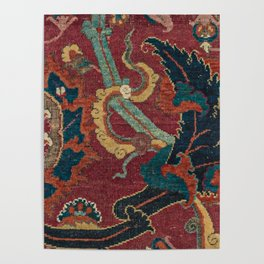 Flowery Arabic Rug III // 17th Century Colorful Plum Red Light Teal Sapphire Navy Blue Ornate Patter Poster