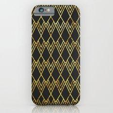Art Deco Diamond Teardop - Black & Gold iPhone 6 Slim Case